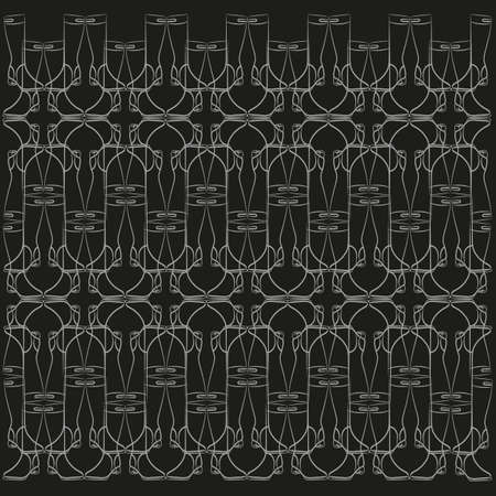 jackboot: Elegant vector pattern in the Art Nouveau style of the womens boots
