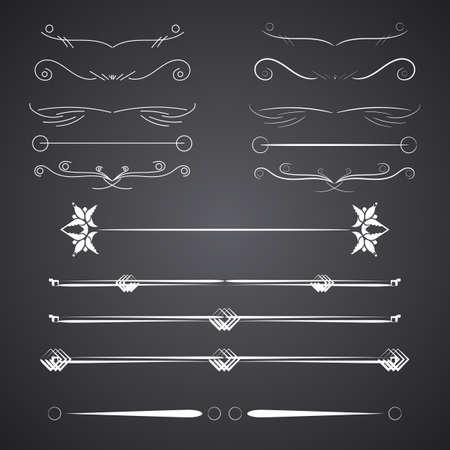ascent: A diverse collection of vector dividers, bumpers, frames, ornaments, podecherkivany. Floral elements Illustration