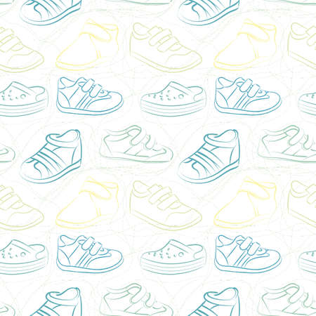 baby shoes: Vector seamless set of baby shoes