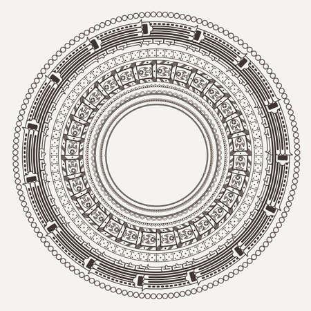 Set of vector frames in style stone Aztec calendar