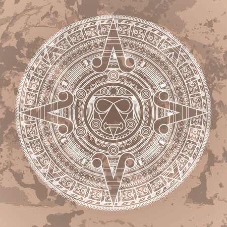 grunged: Vector circular pattern in the style of the Aztec calendar stone on a grunged background