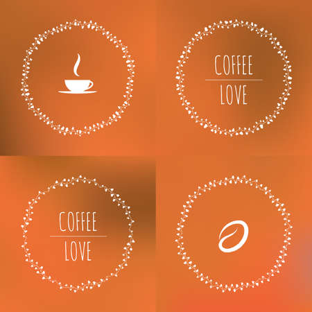 coffee beans background: Set of coffee vector framework of the vines with hearts and cups and coffee beans