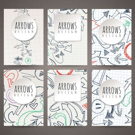 leaflets: Set of six vector designs of hand-drawn arrow. Cover design, brochures, leaflets, business cards, magazine, flyers, leaflets, stickers. Illustration