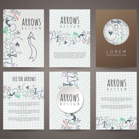 leaflets: Set of six vector designs of hand-drawn arrow. Cover design, brochures, leaflets, business cards, magazine, flyers, leaflets, stickers. Illustration