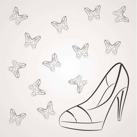 women's shoes: Vector monochrome background with filigree butterflies of womens shoes with high heels.