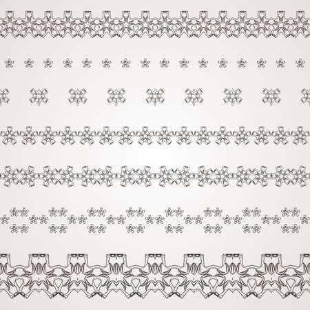 women's shoes: Set of vector filigree star, flowers, borders, frames and brushes of various womens shoes. Illustration