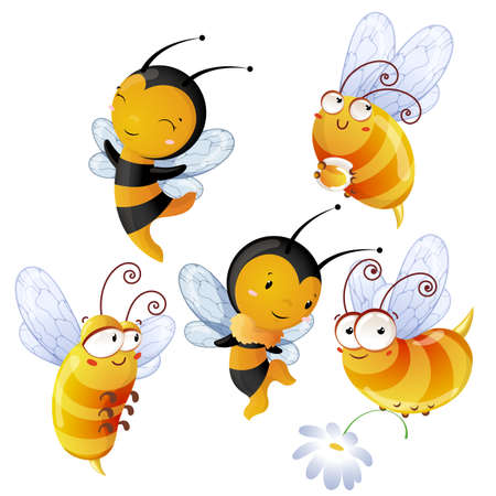 bee on flower: Set of bright cheerful bees Stock Photo