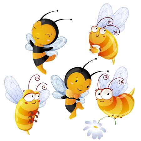 Set of bright cheerful bees Stockfoto