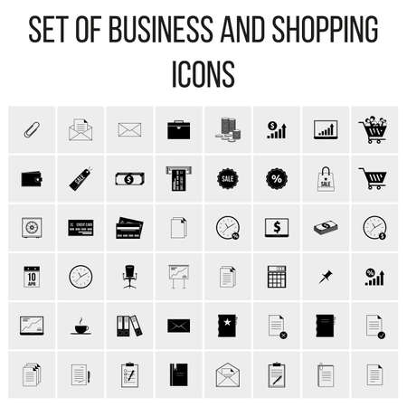 Vector set of colored icons in a flat style with long shadows. Business and Shopping
