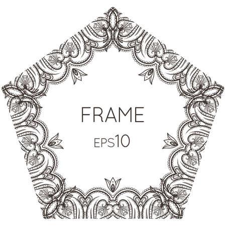 photo frame corner: Intricate floral vector frame pentagonal