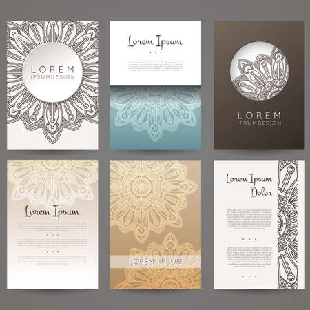 layout template: Set of vector design templates. Brochures in random colorful style. Vintage frames and backgrounds. Flower, mandala design.