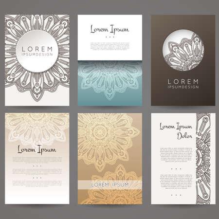 Set of vector design templates. Brochures in random colorful style. Vintage frames and backgrounds. Flower, mandala design.