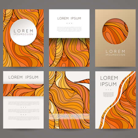 Set of vector design templates. Brochures in random colorful style. Vintage frames and backgrounds.