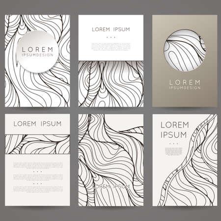 espiral: Conjunto de plantillas de diseño de vectores. Folletos de estilo colorido al azar. Marcos y fondos de la vendimia. Blanco y Negro. Vectores