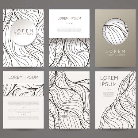 brochure template: Set of vector design templates. Brochures in random colorful style. Vintage frames and backgrounds. Black and White.