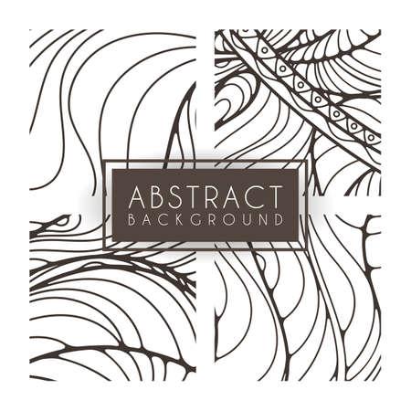 monochromatic: Set of four vector monochrome intricate patterns. Doodle. Zentangle. Monochromatic Illustration