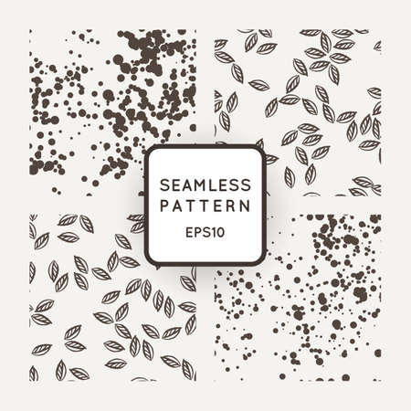 Set of vector seamless patterns with leaves flying in the wind and chaotic points Vectores