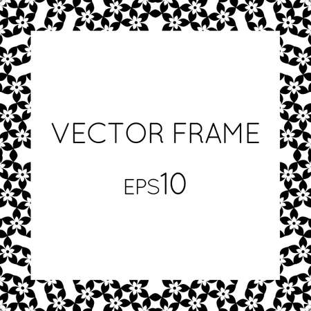 square image: Vector square flower frame for text, images, monograms, photo frames.
