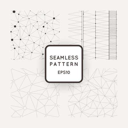 Set of four vector abstract seamless patterns similar cobwebs Vectores