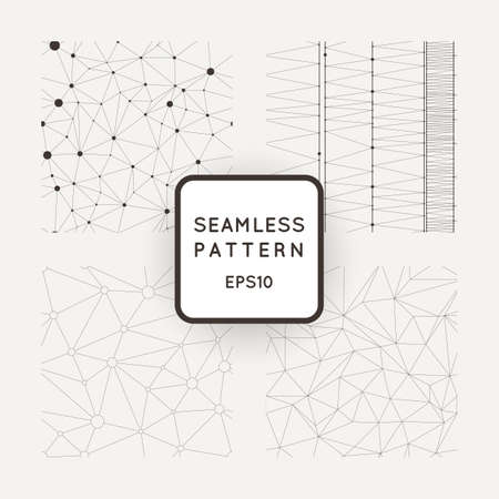 Set of four vector abstract seamless patterns similar cobwebs Stock Illustratie