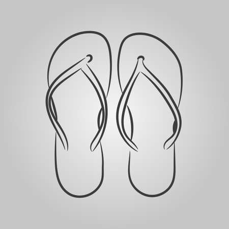 Vector icons with a simplified schematic image of beach sandals