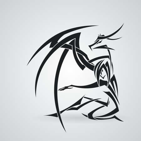 curve claw: The girl and the dragon in the style of tattoos. Vector pattern Illustration