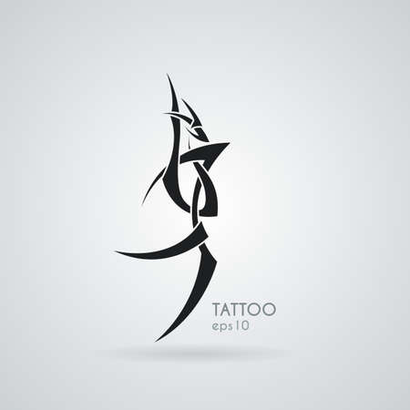 tribal dragon: The stylized image of a dragon. Vector. Tattoo.