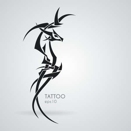 celtic symbol: The stylized image of a dragon. Vector. Tattoo.