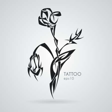 Rose bouquet. Tattoo. Vector. Tribal.