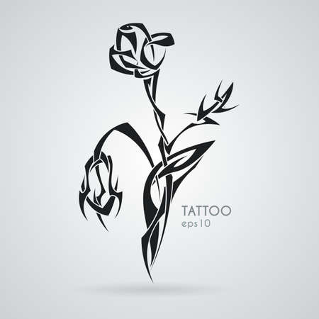 Rose bouquet. Tattoo. Vector. Tribal.