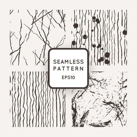 Set of vector seamless patterns with grungy hand-drawn elements