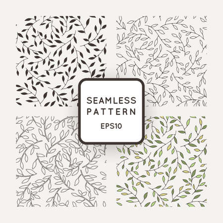 nature pattern: A set of four vector patterns from leaves and twigs