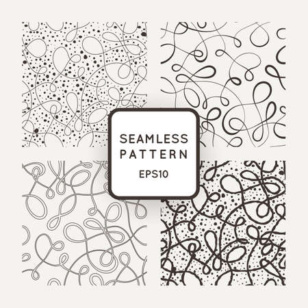 decorative design: A set of four vector seamless patterns of curled lines Illustration