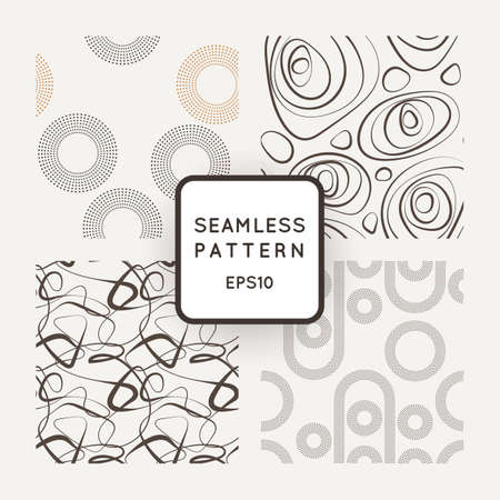 twist: A set of four vector seamless patterns of curled lines and dotted structures