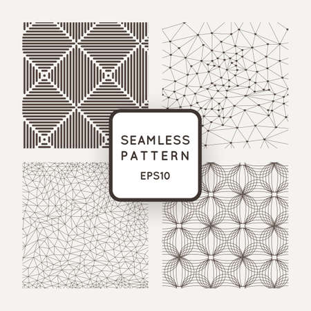 A set of four vector seamless patterns. Grid. Polygons. Squares. Waves. Illustration