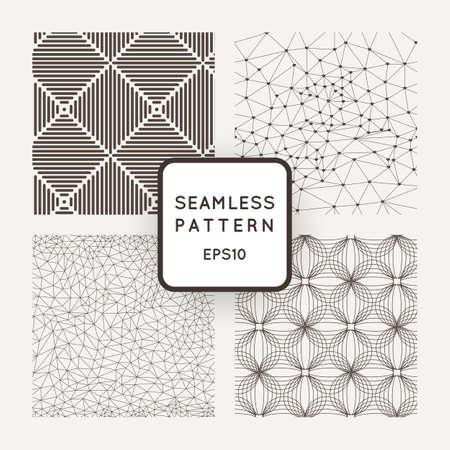lineal: Un conjunto de cuatro patrones de vectores sin fisuras. Cuadrícula. Polígonos. Cuadrados. Olas.