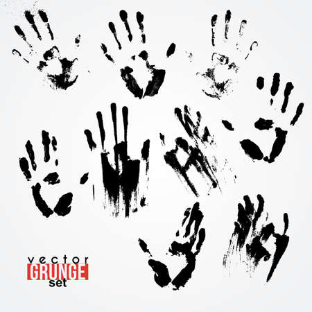 traced: Set of vector traced ink handstamps. Blots. Grunge.