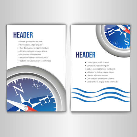 a place for the text: A set of cards with the image of a compass and a place for text