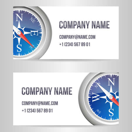 A set of cards with the image of a compass and a place for text