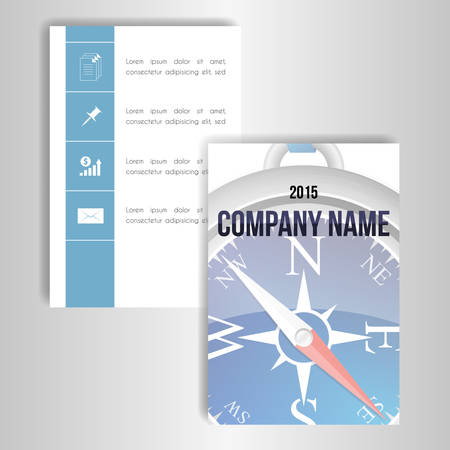 orientate: A set of cards with the image of a compass and a place for text