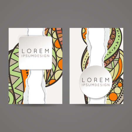 leaflets: A set of two designs for brochures, leaflets, covers, leaflets, flyers, cards with an elegant and sophisticated pattern and imitation of torn paper. Vector.