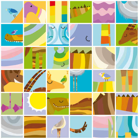color block: African Random Color Block Collage with Animals Illustration