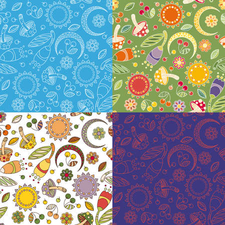 suns: Colorful cheerful pattern with mushrooms color of the suns and moons