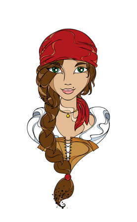 Funny Girl Pirate In The Red Bandana Vector