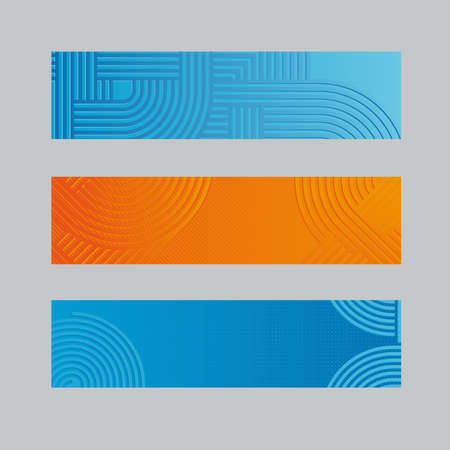 Abstract Blue and Orange Banners with Circles and Lines