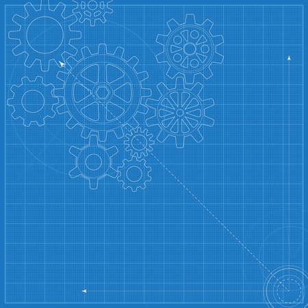 Decorative blueprint with schematic gears on graph paper