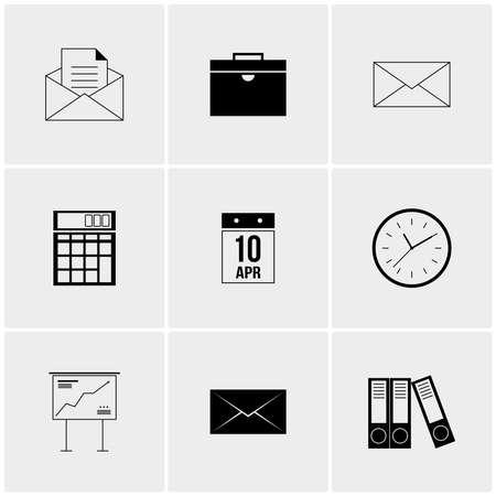 advances: Black and white set of minimalist icons