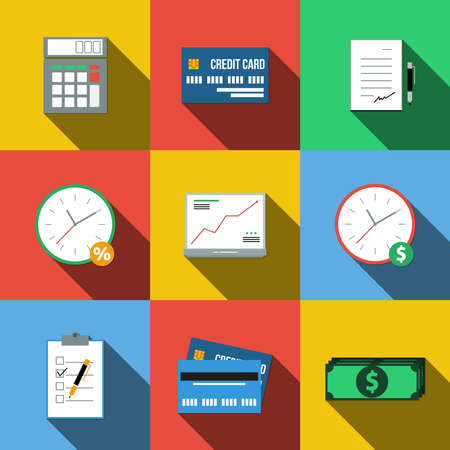 advances: Set of colored icons in a flat style with long shadows Stock Photo