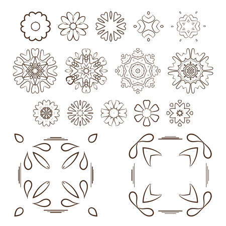 squiggles: Set of abstract floral and circular patterns. Mandalas. Japanese emblems. Flowers. Seal.