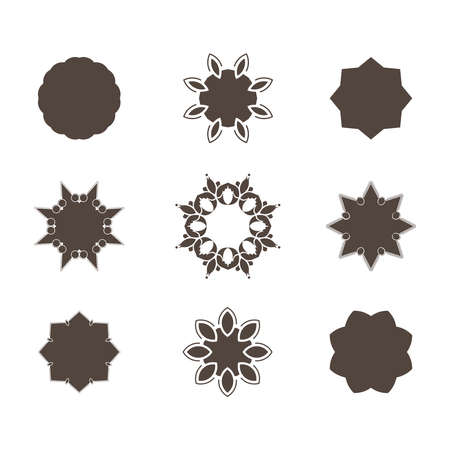 workpiece: Set of abstract floral and circular patterns